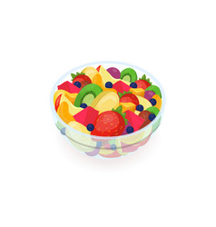 bowl of tasty salad made of fresh exotic fruits vector image