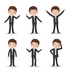 business man in various poses vector image
