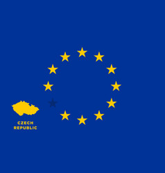 eu flag with czech republic country european vector image