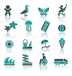tourism recreation vacation icons set vector image