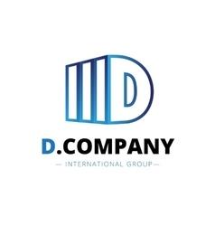 trendy isometric D letter logo vector image