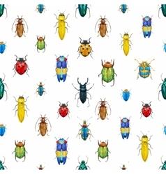Watercolor bug beetle pattern vector image vector image