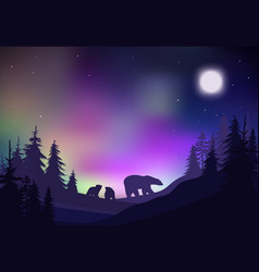 colorful night winter forest landscape template vector image vector image