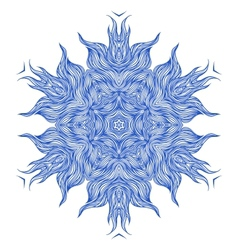 Mandala design or snowflake in dark blue vector image