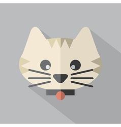 Modern Flat Design Cat Icon vector image