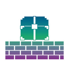 pixelated video game treasure chest brick wall vector image vector image