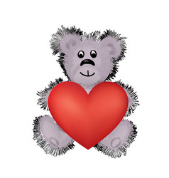 teddy bear toy with big red heart in hands i love vector image
