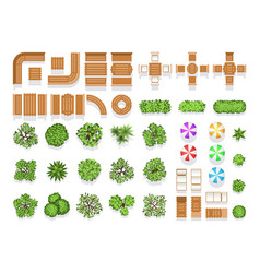 Top view landscaping architecture city park plan vector