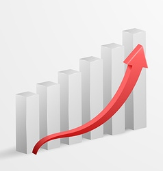 3d business growth bar graph vector image