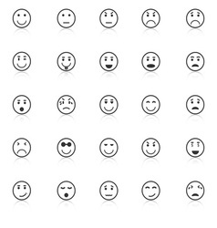 Circle face icons with reflect on white background vector image vector image