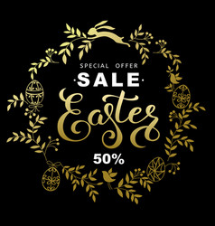 easter sale banner with wreath golden leaves and vector image vector image