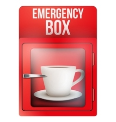 Red emergency box with cup of coffee vector image