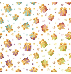 Seamless background with gift boxes in four colors vector