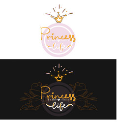 set of two girl color logo projekt lettering vector image vector image