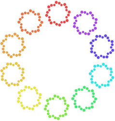 Set of wreaths of multi-colored snowflakes on a vector