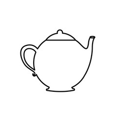 Silhouette teapot drink icon flat vector