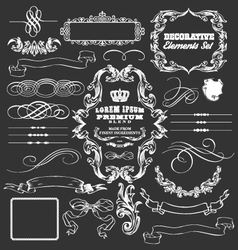 decorative vintage elements and ribbons set vector image vector image