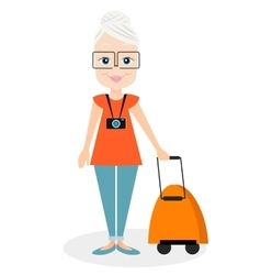 Grandmother with a packsack travel travelling vector