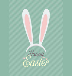 happy easter with bunny ears mask vector image