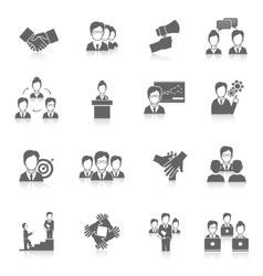 Teamwork icons black vector image vector image