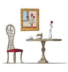 Vintage interior with table chare flowers and vector image