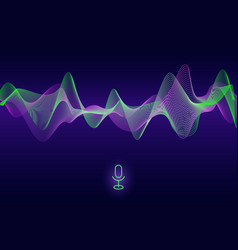 Abstract pulse sound wave voice assistant vector