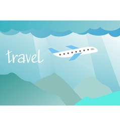 aircraft flying in the sky over the mountains vector image