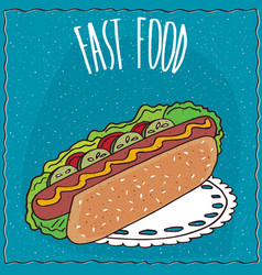 Appetizing hot dog in handmade cartoon style vector