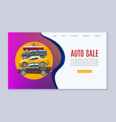 auto sale landing page for car center showroom vector image