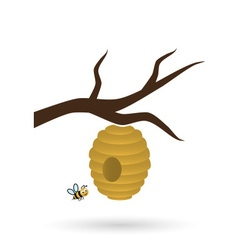 bee nets and little bee on tree icon eps10 vector image