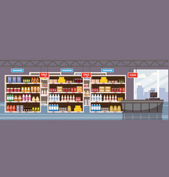 Big shop super market shopping mall interior store vector
