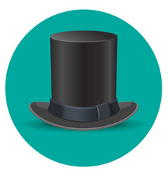 black male top hat isolated on green circle vector image