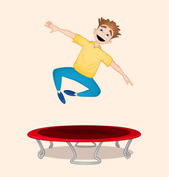 boy jumping on trampoline vector image
