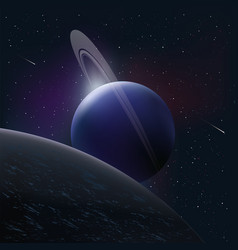bright planet in space around comet and stars vector image