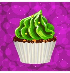 Cake with cream on a colorful background vector image