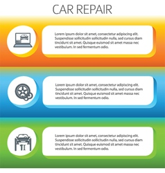 car repair service horizontal banner set vector image