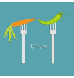 Carrot and green pea on fork Diet concept Menu vector image