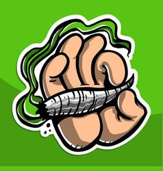cartoon hand holding smoking marijuana weed leaf vector image