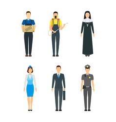 Cartoon professional people characters icon set vector
