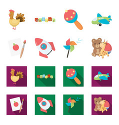 children toy cartoonflat icons in set collection vector image
