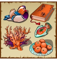 Chinese duck book tangerine and coral 5 images vector image
