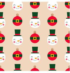 christmas balls and snowmen seamless vector image