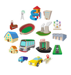 city icons set cartoon style vector image