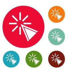 cursor click icons circle set vector image