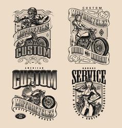 Custom motorcycle vintage monochrome designs vector