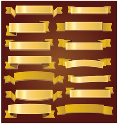 Cute gold ribbons and banners vector image