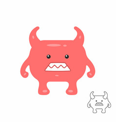 cute red cartoon monster vector image