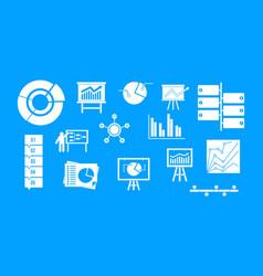 diagram icon blue set vector image