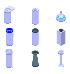drinking fountain icons set isometric style vector image