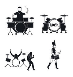 Drummer drum rock musician icons set simple style vector